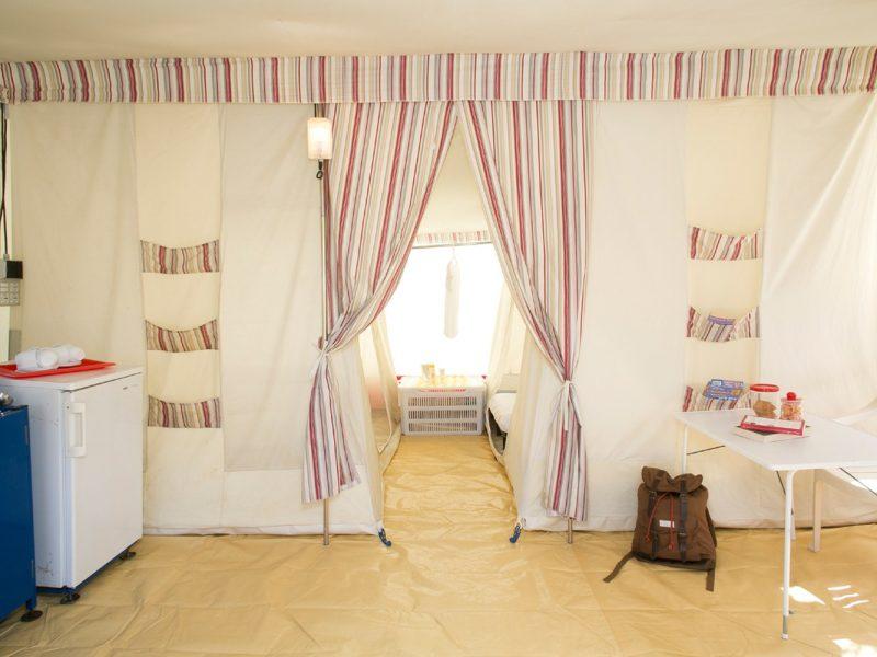 Accommodatie bungalowtent slaapvertrekken
